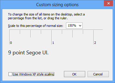 This is at 150% of the same resolution. The 9 point Seqoe UI text can be seen as bigger now